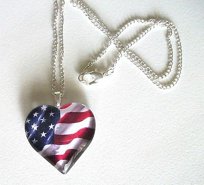 American Waving Flag Glass Heart Necklace  Patriotic  Red White Blue  U.S.A.