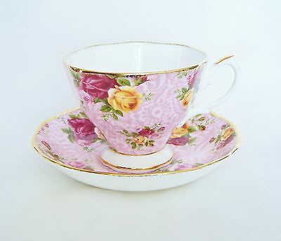 Royal Albert Dusky Pink Lace Old Country Roses Tea Cup And Saucer Bone China