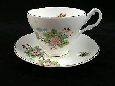 Regency English Bone China Teacup and Saucer pink flowers