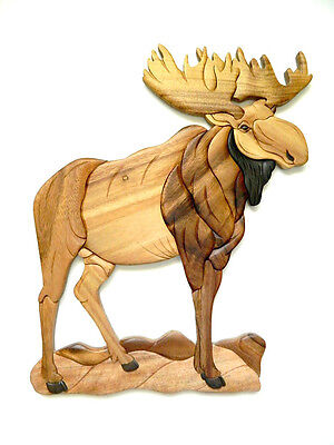 Standing Moose Wood Intarsia Wall Art Home Decor Plaque Western Lodge New