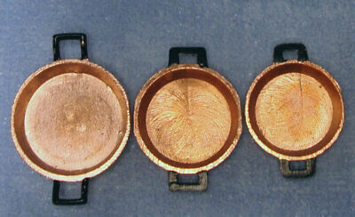 Set Of Three Copper Flat Pans, Dolls House Miniatures Kitchen Accessory