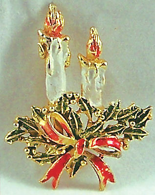 Vintage Christmas Candle Candlestick Holly Ribbon Pin Brooch Enamel Goldtone