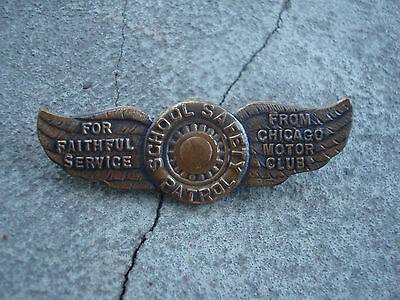 Vintage CHICAGO MOTOR CLUB SCHOOL SAFETY PATROL Pin WINGS