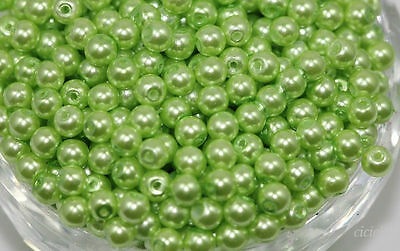 Wholesale 50Pcs Lots Grass Green Glass Pearl Round Spacer Loose Beads 6mm