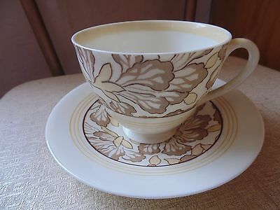 Royal Doulton Tan Cream Brown Yellow Flower Floral Tea Cup and Saucer Set