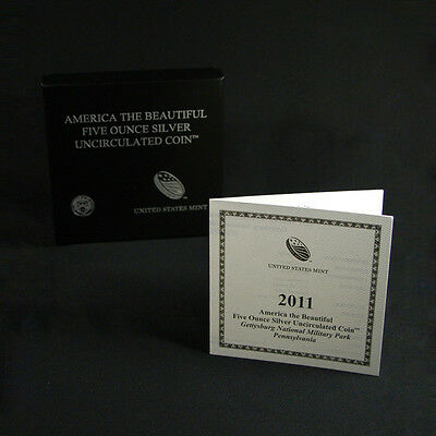 2011-P America The Beautiful Gettysburg ATB 5 Oz Box OGP & COA No Coin