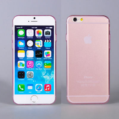 Transparent Phone Case Cover Pink Soft Silicon TPU Skin Case for iPhone 6 Plus
