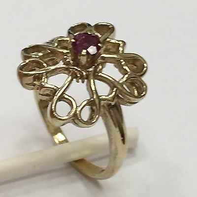QUALITY GOLD TONE .925 STERLING SILVER FANCY VINTAGE AVON RUBY RING SIZE 6