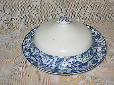 WOODS WARE ENOCH WOODS  WOOD AND SONS  COBALT BLUE COVERED BOWL BUTTER DISH