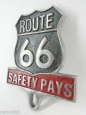 ROUTE 66 SAFETY PAYS LICENSE PLATE TOPPER FRAME TAG SIGN BADGE MOTORCYCLE TRUCK