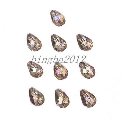 HOT Beautiful 7pcs 12mm charms glass crystal loose spacer beads color champagne