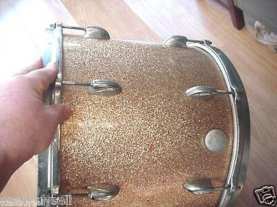 VINTAGE  GRETSCH TOM CHAMPAGNE SPARKLE DRUM VINTAGE JAZZ ROUND BADGE ludwig