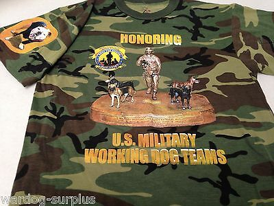 Rothco M T-Shirt Woodland Camo US Military Working Dog Teams Army / USMC K-9