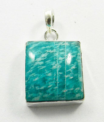 Simple Design Natural Amazonite Gemstone Silver 925 Solid Nice Pendant Jewellery