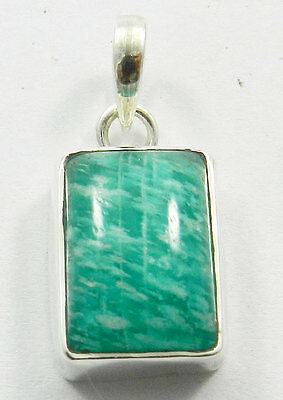 Natural Amazonite Gemstone Silver 925 Plain Design Pendant, Attractive Jewellery