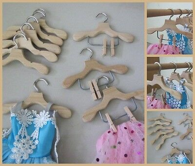 9 Unvarnished Wood Hangers for Barbie Doll Skirt Pants Clothes, 6 + 3 with clips