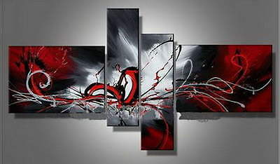 white black red home decoration oil painting Abstract Modern wall art pictures