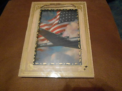 "WORLD WAR II SHADOW BOX 9 1/2"" X 6 1/2"" PRINT B 52 BOMBER? US ARMY GLASS FRONT"