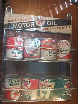 VINTAGE STYLE TEXACO MOTOR OIL 8 CANS DISPLAY RACK  FILLING STATION GAS AIRCRAFT