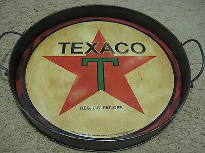 LARGE VINTAGE STYLE OFFICIAL  TEXACO ROUND METAL TRAY MOTOR OIL GAS SIGN CHEVRON