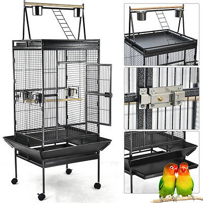 Large Bird Cage Play Top Iron Ladder Parrot Finch Cockatoo Parakeet Pet Supply