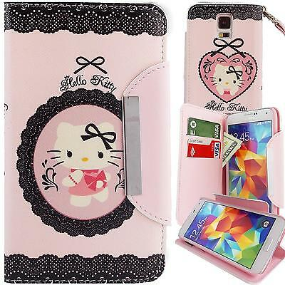 Pink PU Leather Lace Hello Kitty Wallet Case for Samsung Galaxy S5 Stand Cover