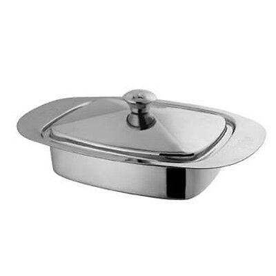 Butter Dish Stainless Steel Tray Holder Retro With Lid Serving Storage Kitchen