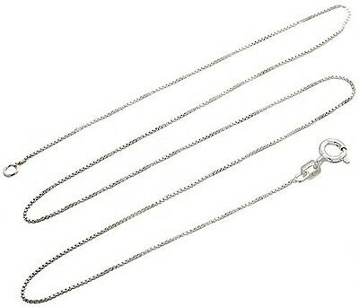 "Sterling Silver Italian Box Necklace 36"" Chain Nickel Free Solid 925 Italy .8mm"