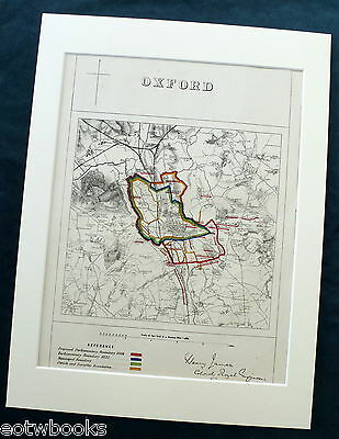 OXFORD - Antique Map / Plan, in mount,  Boundary Commissioners Report - 1868