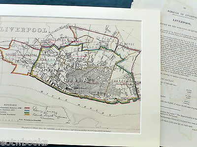 LIVERPOOL - Antique Map / Plan, in mount,  Boundary Commissioners Report - 1868