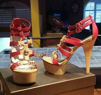 "BEBE brand new red & gold nautical MARCELLE 6"" heels strappy SZ 9 Kardashian"