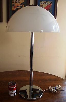VTG BEST CLEANEST Mid Century Mod Very Tall High Quality Chrome Glass Table Lamp