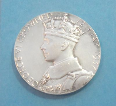 Authentic King George VI and Queen Elizabeth 1937 Silver Coronation Medal