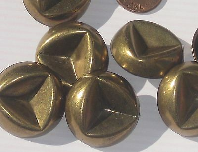 LARGE FUNKY Heavy Set 7 Vintage New Antiqued BRASS Metal SHAPELY Buttons 1&1/16""