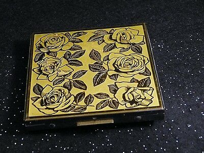 "Vintage Large Gold Tone Roses on Metal Mirror Powder Compact 3"" Square Pink Puff"