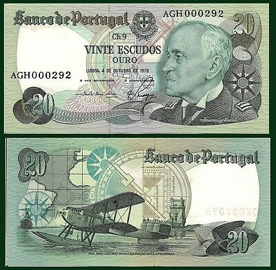Portugal P176b, 20 Escudos, Adm. Countinho / seaplane, compass, map UNC $8 CV