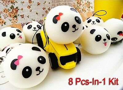 8Pcs Cute Panda cartoon face Squishy Cell Phone Hang Rope Straps Charms