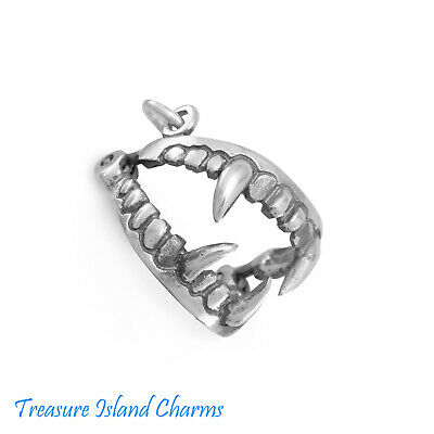 Sterling Silver 3D 15x17mm Halloween Movable Vampire Teeth Charm!