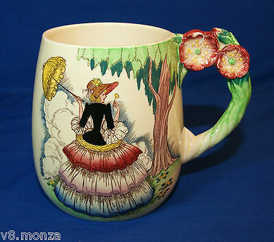 """Carlton Ware Mug Cup with """"CRINOLINE LADY"""" Picture On The Front - Flowers Handle"""