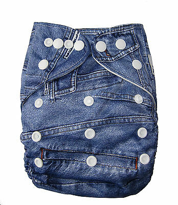 Modern Cloth Reusable Washable Baby Nappy Diaper & Insert, Denim