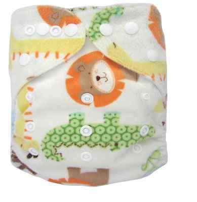 Modern Cloth Reusable Washable Baby Nappy Diaper & Insert, Minky Jungle Animal