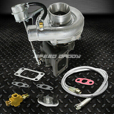 T04E T3/t4 A/r .63 57 Trim 400+Hp Stage Iii Boost Turbo Charger+Wg+Oil Feed Line