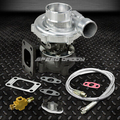 T04E T3/t4 A/r.48 50 Trim 5-Bolt 300+Hp Stage Iii Turbo Charger+Oil Feed Line