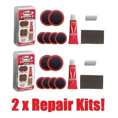 RavX - Patch X - TWO Puncture Repair Kits - Bike/Bicycle/Tube/Tyre Glue Patches