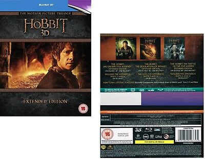 THE HOBBIT 1-3 (2012-2014): COMPLETE EXTENDED MOVIE TRILOGY  RgFree 3D + BLU-RAY