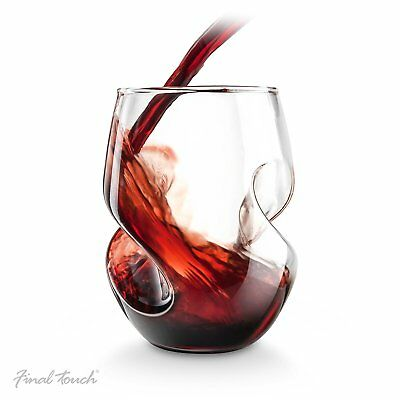 Final Touch 4x Conundrum RED WINE Aerating GLASSES Hand Blown Stemless 473ml NEW
