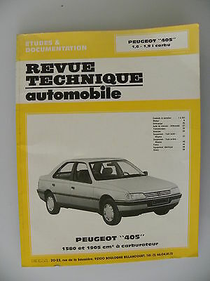 revue technique automobile RTA Peugeot 405  1,6 - 1,9 I  à carburateur