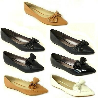 ad68fff0ecbf New Womens Flat Pumps Ladies Patent Ballet Ballerina Dolly Bow Shoes Size 3 -8