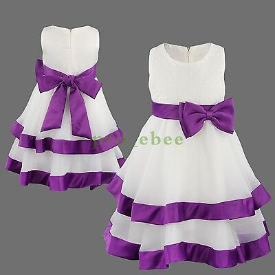 Girls Flower Formal Wedding Christening Princess Bridesmaid Party Dress
