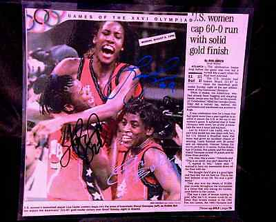 Olympic USA Womans Basketball 1996 Autographed News article by 3 Gold Medalist